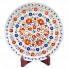 """12"""" White Marble Round Dish Plate Marquetry Art Inlay Hakik Gifts For Him Decor"""