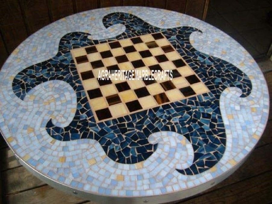 White Marble Chess Designer Table Mosaic Inlay With Pietra Dura Patio Decor H4042