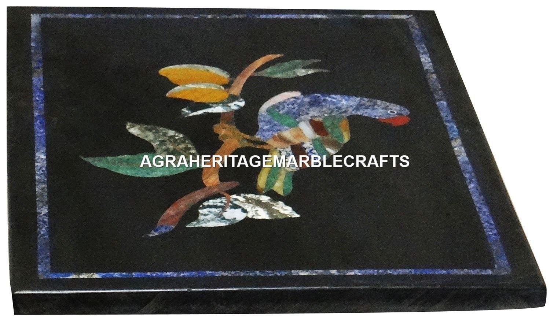 Marble Coffee Center Table Top Mosaic Birds Inlaid Pietra Dura Decor Arts H2996
