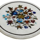 White Marble Round Coffee Table Top Marquetry Inlaid Floral Garden Decor H2975