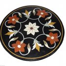 """24"""" Black Round Marble Table Top Handmade Marquetry Pietra Dura New Year Decor"""
