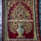 Red Carpet Embroidered Zardozi Hand Crafted Work Floor Wall Rug Gift Decor M125