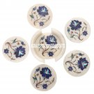 White Marble Coffee Coaster Set Lapis Lazuli Stone Inlay Table Decor Gifts H3561