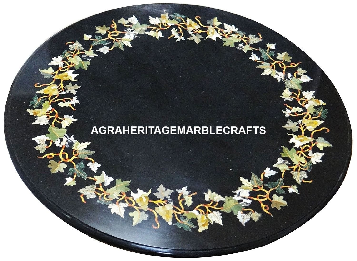 Marble Black Marquetry Top Coffee Table Mosaic Stone Inlay Gems Arts Decor H2970