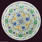 White Marble Serving Dish Plate Hakik Floral Mosaic Inlay Kitchen Arts Decor