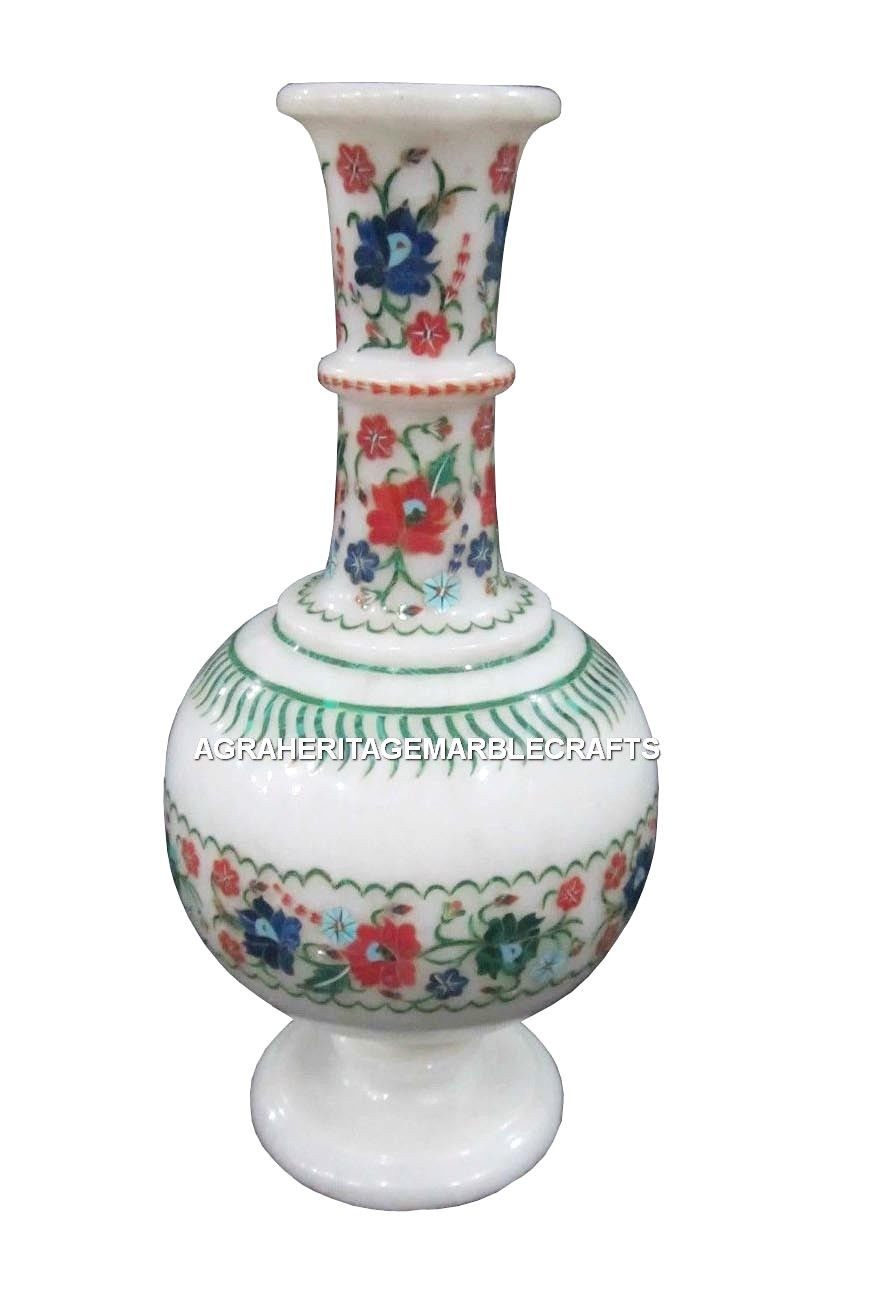 White Marble Flower Vase Jar Multi Gems Inlay Mosaic Marquetry Table Decor H1433