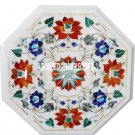 """12"""" White Octagon Marble Top Table Marquetry Hakik Stone Inlay Art Patio Decor"""