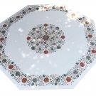"30"" Marble Coffee Table Top Pietra Dura  Semi Precious Handmade Arts Gifts"