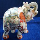 Marvelous Indian Marble Elephant Sign Of Good Luck Stone Hand Painted Arts H4202