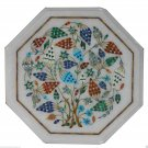 """12"""" Marble Coffee Table Top Grapes Marquetry Semi Precious Marquetry Art Decor"""