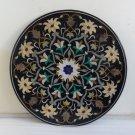 "42"" Black Marble Mosaic Inlaid Dining Coffee Table Top Handmade Rare Garden Arts"
