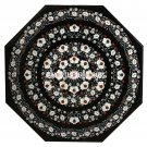 Black Marble Dining Table Mother of Pearl Inlay Patio Decor Marquetry Arts H3544