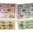 Set of 2 Marble Jewelry Storage Boxes Rare Gem Pietradure Mosaic Nice Gift Decor