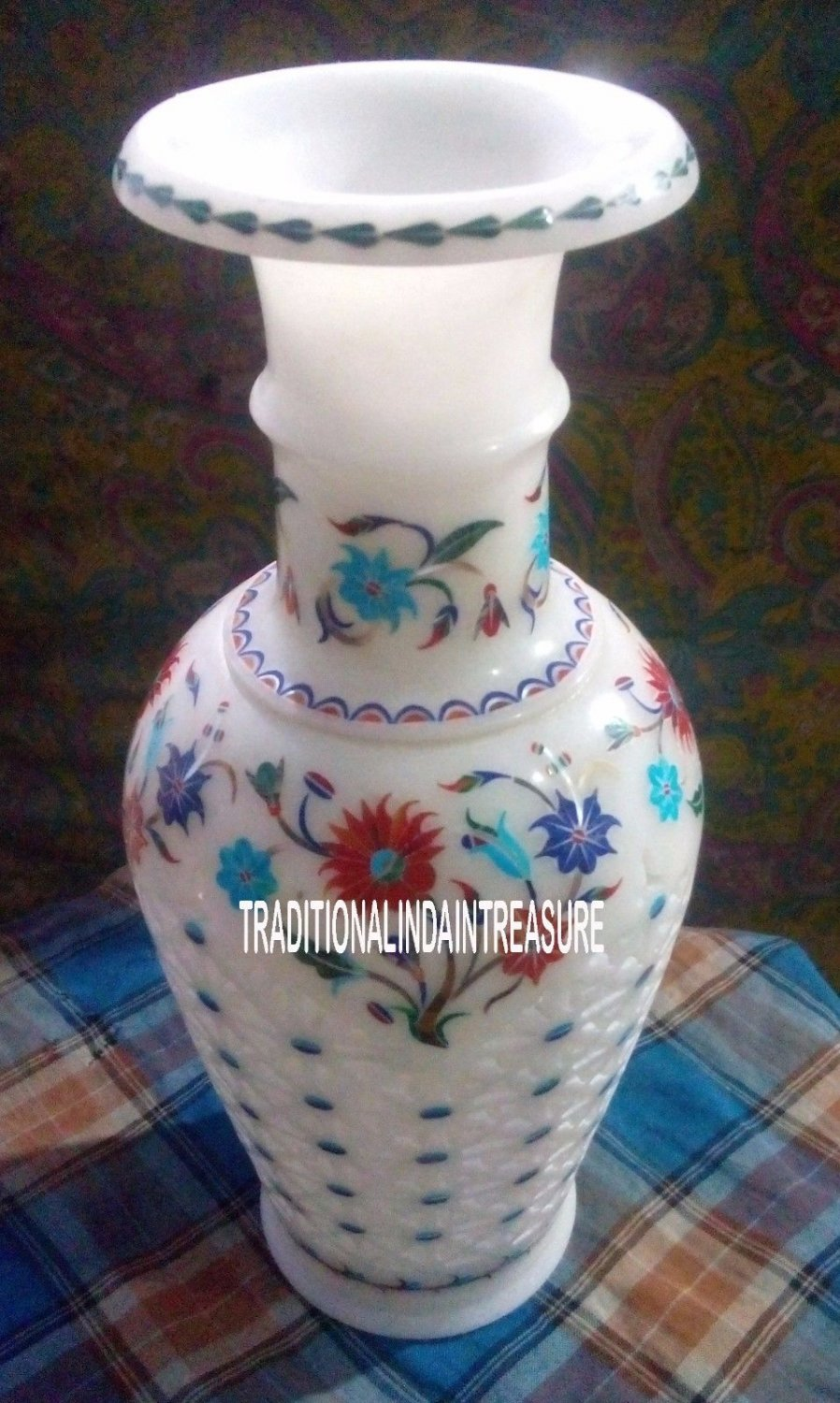 """12"""" Marble White Flower Pot Rare Collectible Art Inlay Floral Table Decor Gifts"""