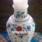 "12"" Marble White Flower Pot Rare Collectible Art Inlay Floral Table Decor Gifts"