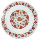 """24"""" White Marble Carnelian Floral Work Coffee Table Top Marquetry Home Decor Art"""