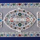 """18""""x12'' White Marble Tray Plate Grill Work Inlay Marquetry Floral Kitchen Decor"""