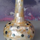 """15"""" White Marble Flower Pot Rare Abalone Stone Marquetry Inlay Gems Decor Gift"""