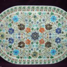 White Marble Serving Tray Plate Rare Marquetry Malachite Inlay Work Home Decor