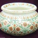 "6"" White Marble Flower Pot Rare Hakik Stone Inlay Pietradure Table Decor Gifts"