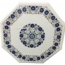 """24"""" White Marble Coffee Table Top Marquetry Real Lapis Inlay Living Room Decor"""