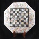 Marble White Coffee Table Seashell Chess Top Pietradura Inlay Patio Decor H3702