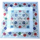 White Marble Coffee Table Top Mosaic Floral Inlaid Decorative Hallway Gift H2926