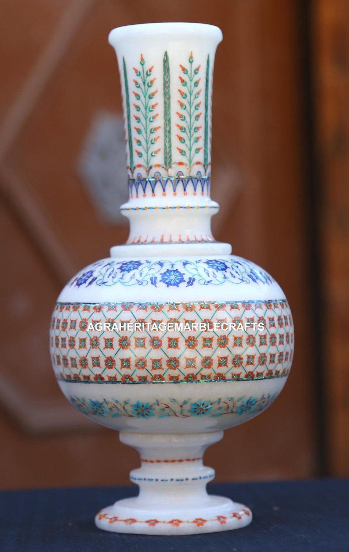 Antique White Marble Flower Pot Jar Semi Mosaic Inlaid Art Marvelous Gifts H1959