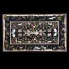Black Marble Marquetry Top Coffee Table Animal Pietra Art Handicraft Decor H3674