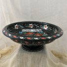 """12"""" Black Marble Fruit Bowl Hakik Kitchen Décor Inlay Marquetry Home Decor H3775"""