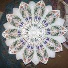 "12"" Marble White Dry Fruit Bowl Rare Malachite Inlay Mosaic Parrot Decor Gifts"