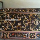 Black Dining Marble Garden Table Top Rare Stone Inlay Marquetry Work Decor H3250