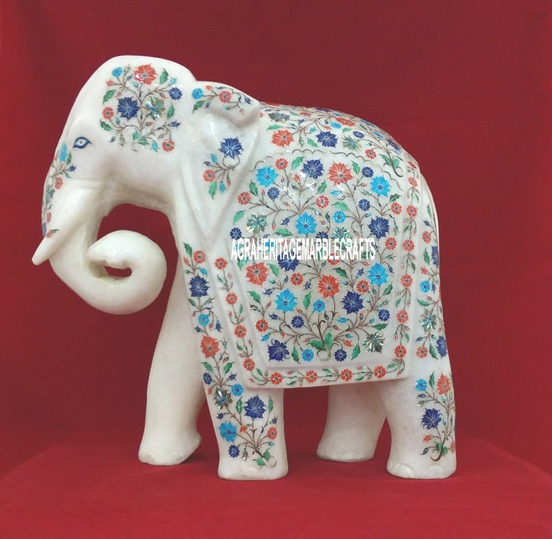 13'' Marble Elephant Rare Stone Multi Pietadura Floral Art Beautiful Gifts H3766