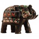 15'' Black Marble Elephant Trunk Up Pietra Dura Stone Handmade Inlay Home Decor