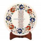 10'' Marble Dry Fruit Round Plate Mosaic Filigree Art Inlay Kitchen Decor H3571