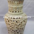Marble Flower Vase Handmade Lattice Floral Work Hallway Outdoor Decorative H4173