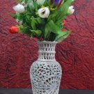"10"" Marble Hand Carved Vase Flower Pot Design Collectible Gifts Home Decor H702"