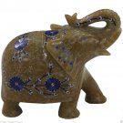 "4"" Marble Trunk Elephant BeautifulFloral Pietra Dura Mosaic Special Gifts Decor"