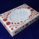 "6""x4""x1.5"" White Marble Jewelry Box Filigree Marquetry Art Hakik Inlaid Decor"