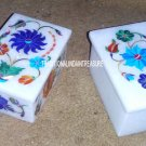 Set of 2 Marble Jewelry Storage Box Marquetry Inlay Mosaic Best Decorative Gifts