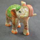 "4"" White Marble Turning Elephant Golden Hand Painted Handmade Home Decor H682"