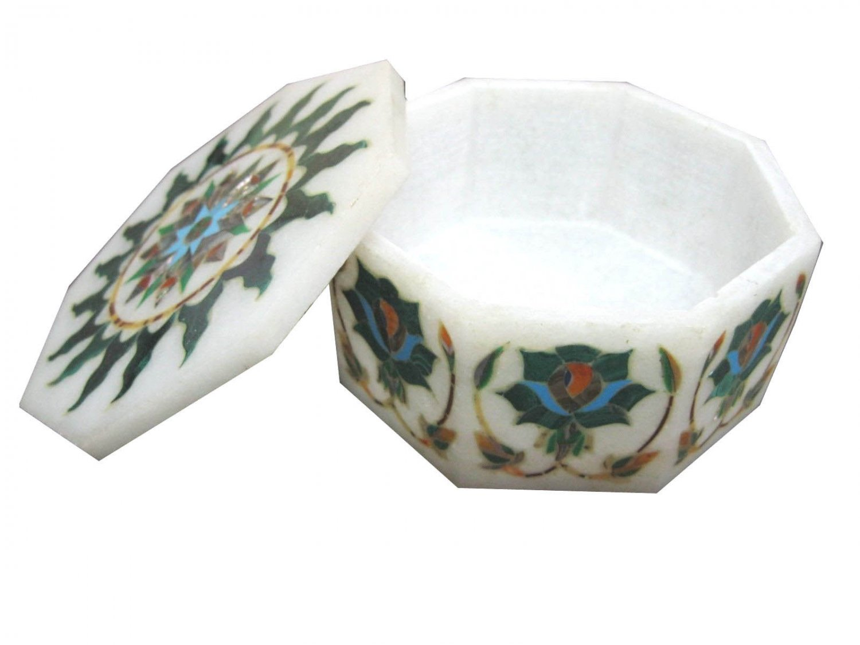 "4""x4""x2"" Marble Jewelry Box Trinket Handmade Pietra Dura Malachite Gifts H1108"