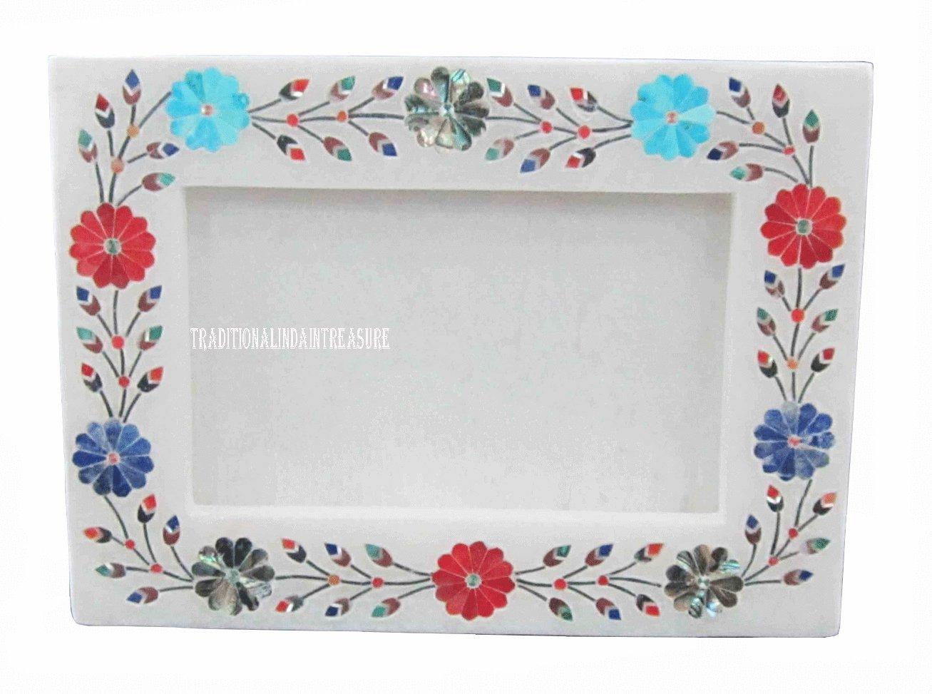 White Marble Photo Frame Semi Precious Stone Marquetry Inlay Mosaic Work Decor