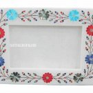 White Marble Photo Frame Semi Precious Stone Marquetry Inlay Mosaic Work Decor