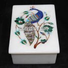 "4""x3""x2'' White Marble Jewelry Box Malachite Floral Inlay Mosaic Peacock Decor"
