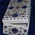 "6""x4""x3"" Marble Jewelry Box Lapis Lazuli Christmas Gifts Arts Inlaid Home Decor"
