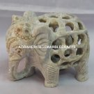 Marble Lattice Baby Elephant Handmade Arts Living Room Showpiece Decor H4212
