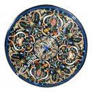 Black Marble Table Top Pietra Dura 55 Inches Round