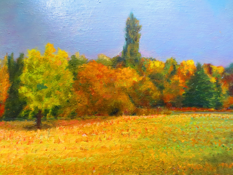 """Oil Painting�Meadow�Landscape Fine Art Oil Painting On Canvas-Size: 14"""" x  14"""" (35 cm x 35 cm)"""