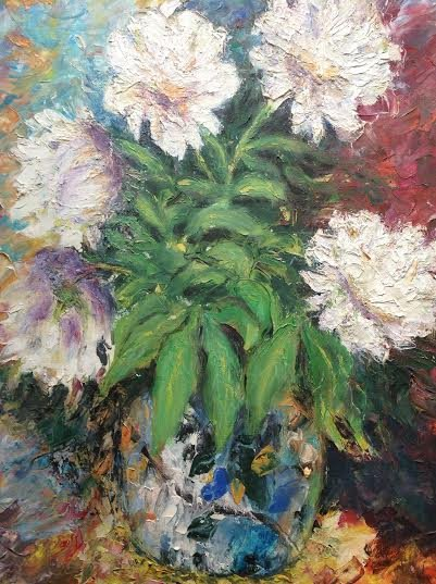 """Oil Painting�Peonies�Nature Fine Art Oil Painting On Canvas- Size: 20"""" x  20"""" (50 cm x 50 cm)"""